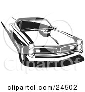 Clipart Illustration Of A 1966 Pontiac Gto Muscle Car With A Hood Scoop Burning Rubber And Leaving Tire Marks Black And White