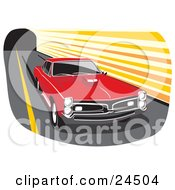 Clipart Illustration Of A Red 1966 Pontiac Gto Muscle Car With A Hood Scoop And Dark Tinted Windows Peeling Out And Leaving Marks On A Road