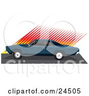Clipart Illustration Of A Teal 1966 Pontiac Gto Muscle Car With Dark Tinted Windows In Profile By A Red And Yellow Wall