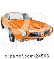 Clipart Illustration Of An Orange 1970 Pontiac Firebird With Hood Scoops As Seen From The Front by David Rey
