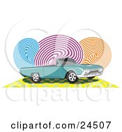 Clipart Illustration Of A Teal Ford Thunderbird Car With Black Tinted Windows And A Convertible Top Over A Checkered Yellow Surface With Blue Purple And Orange Swirls In The Background