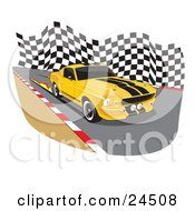 Clipart Illustration Of A Yellow 1967 Ford Mustang Gt500 Muscle Car With Black Racing Stipes And Tinted Windows Burning Flames On The Road While Racing