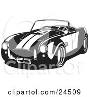 Clipart Illustration Of A Convertible 1960 Ac Shelby Cobra Car With Racing Stripes Black And White by David Rey