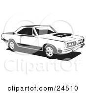 Clipart Illustration Of A Parked 1968 Barracuda A Muscle Car By Plymouth In Black And White by David Rey