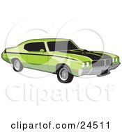 Clipart Illustration Of A Green 1970 Buick Muscle Car With Black Racing Stripes And Side Decals And Dark Tinted Windows