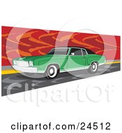 Green 1970 Chevrolet Monte Carlo Muscle Car With White Wall Tires And Dark Tinted Windows, Parked By A Red Wall