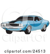 Clipart Illustration Of A Light Blue 1970 Dodge Challenger Rt With A Black Hood Stripe And Tinted Windows