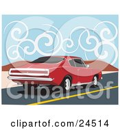 Clipart Illustration Of A Red 1970 Plymouth Barracuda Muscle Car Speeding Down A Dessert Road Under A Sky With Swirly Clouds