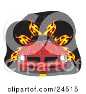 Clipart Illustration Of A Red 1977 Pontiac Trans Am Firebird With Flames Painted On The Hood And Dark Tinted Windows On A Road In Front Of A Devil And Fire by David Rey