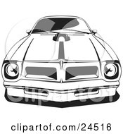 Clipart Illustration Of A 1976 Or 1977 Trans Am Made By Pontiac As Seen From The Front by David Rey #COLLC24516-0052