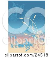 Clipart Picture Of A Faded Love Letter Written On A Page With Orchids Plants And Butterflies by Eugene
