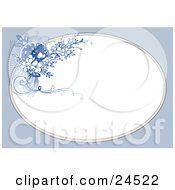 Clipart Picture Of A Cluster Of Blue And White Blossoms And Flourishes On The Corner Of A Blank White Oval Frame by Eugene