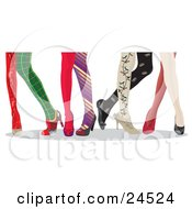 Clipart Illustration Of Ladys Legs With Fashionable And Colorful Stockings And High Heels