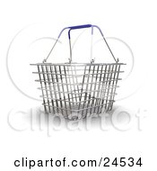 Clipart Illustration Of A Wire Shopping Basket With Blue Handles Over A White Surface by KJ Pargeter