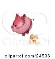 Clipart Illustration Of A Pink Piggy Bank With Stacks Of Cents One Coin Going Into The Slot