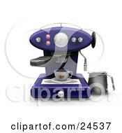 Clipart Illustration Of A Blue Cappuccino Maker Machine With On A Kitchen Counter Pouring Coffee Into A Cup by KJ Pargeter
