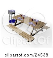 Clipart Illustration Of A Blue BBQ Grill By A Picnic Table Set With Eating Utensils Cups And Plates