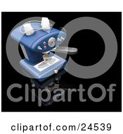 Clipart Illustration Of A Light Blue Espresso Maker Machine Pouring A Cup Of Coffee On A Black Kitchen Counter