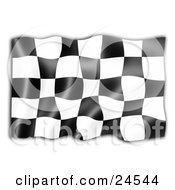 Clipart Illustration Of A Black And White Auto Racing Checkered Flag Symbolizing The End Of A Race Rippling In The Breeze by KJ Pargeter