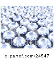 Clipart Illustration Of A Background Of Reflective Purple Glass Christmas Baubles