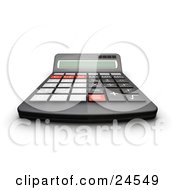 Black Calculator With Gray Black And Red Buttons And A Curved Display For Easy Viewing