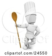 Clipart Illustration Of A White Character In A Chefs Hat Standing With A Wooden Spoon by KJ Pargeter