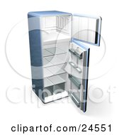 Clipart Illustration Of A Blue Refrigerator With Open Doors Showing An Empty Freezer And Cooling Section by KJ Pargeter