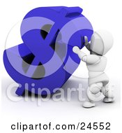 Clipart Illustration Of A White Character Pushing Up A Large Blue Sterling Symbol