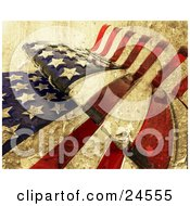 Clipart Illustration Of A Textured American Flag Rippling With The Stars And Stripes by KJ Pargeter