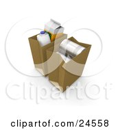 Clipart Illustration Of A Gallon Of Milk Carton Of Orange Juice And Tin Cans In Paper Shopping Bags by KJ Pargeter