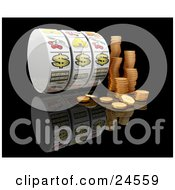 Clipart Illustration Of Stacks Of Golden Coins By Three Dollar Signs On A Casino Jackpot Winner Fruit Machine Reel Over A Reflective Black Background