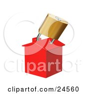Clipart Illustration Of A Red Home Locked With A Golden Padlock Symbolizing Foreclosure by KJ Pargeter