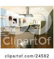 Modern Kitchen Interior With A Fan Over A Gas Oven Bar Counter Chrome Trash Can Modern Table And Chairs In The Dining Room And A Green Fridge And Cabinets