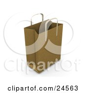 Clipart Illustration Of A Brown Paper Bag With Handles Empty And Expanded Ready For Bagging
