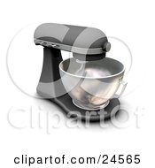 Clipart Illustration Of A Black And Chrome Mixer With A Mixing Bowl On A Kitchen Counter