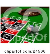 Clipart Illustration Of Stacks Of Red Blue And Green Poker Chips On A Green Roulette Table Near The Wheel