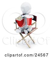 White Character With A Soda Sitting In A Directors Chair And Eating Movie Popcorn