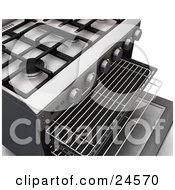 Burners Of A Professional Gas Oven With The Door Open And Baking Trays Pulled Out