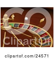 Clipart Illustration Of A White Roulette Ball Spinning Around In A Roulette Wheel In A Casino by KJ Pargeter