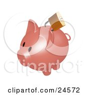Clipart Illustration Of A Gold Lock On The Slot Of A Dark Pink Piggy Bank by KJ Pargeter