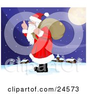 Clipart Illustration Of Santa Claus With A Long White Beard Carrying A Sack Over His Shoulder And Walking In The Snow Near A Quiet Village On Christmas Eve by Paulo Resende