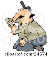 Clipart Illustration Of A White Man In A Green Shirt And Gray Slacks Kneeling And Checking His Watch For The Time