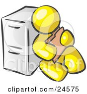 Yellow Man Sitting By A Filing Cabinet And Holding A Folder