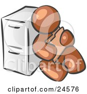Clipart Illustration Of A Brown Man Sitting By A Filing Cabinet And Holding A Folder