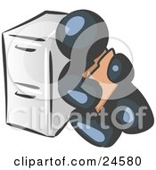 Clipart Illustration Of A Navy Blue Man Sitting By A Filing Cabinet And Holding A Folder
