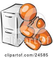 Orange Man Sitting By A Filing Cabinet And Holding A Folder