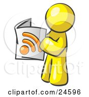 Clipart Illustration Of A Yellow Man Standing And Reading An RSS Magazine