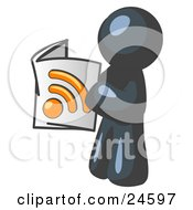 Clipart Illustration Of A Navy Blue Man Standing And Reading An RSS Magazine