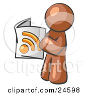Clipart Illustration Of A Brown Man Standing And Reading An RSS Magazine