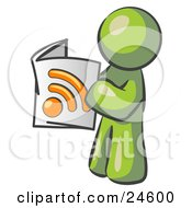 Clipart Illustration Of An Olive Green Man Standing And Reading An RSS Magazine
